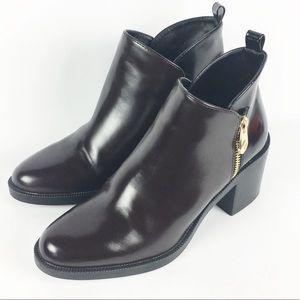 Zara Two Tone Brown Black Ankle Boots Sz 37  6.5
